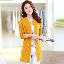Casual Warm Long Design Female Knitted Cardigan