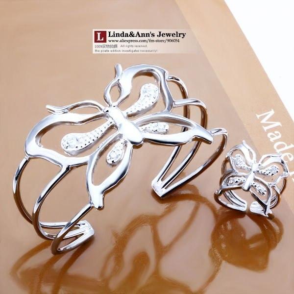 925 ювелирных изделий из серебра, браслеты браслет + кольцо, выдолбите в форме бабочки, бесплатная доставка, оптовая продажа цена, s260