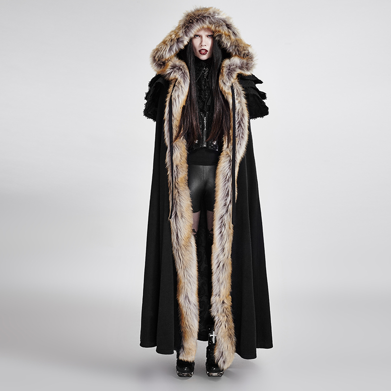 2018 Punk Rave Gothic Winter Men women palace Cosplay Jacket Cape,Wool callor long cloak ,Visual Kei Rock clothing Y673