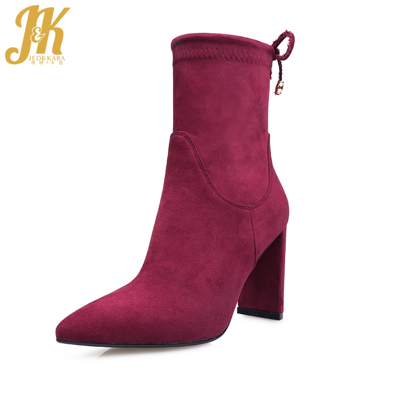 J&K 2017 New Fashion Style Ankle Boots Mature Pointed Toe Autumn Boots Sexy Square High Heel Women Shoes Genuine Leather Suede front lace up casual ankle boots autumn vintage brown new booties flat genuine leather suede shoes round toe fall female fashion