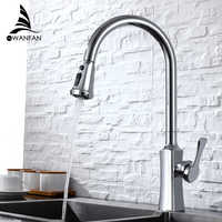 Spray Chrome Stream Handle Kitchen Faucet Tap Rotation Mixer Swivel Pull Out Durable Sink Sprayer Single Hole 866388L