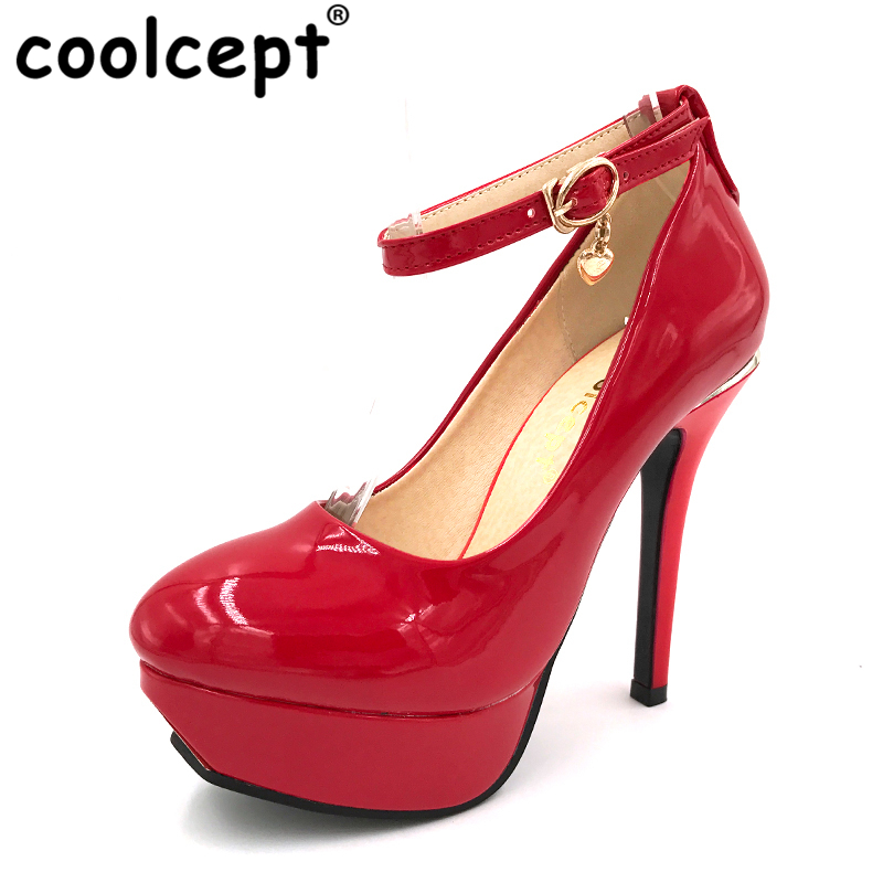 все цены на Coolcept women stiletto  high heels ankle strap shoes water proof brand quality  pumps heeled shoes size 32-43 P22798 онлайн
