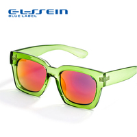 COLOSSEIN BLUE LABEL Gorgeous Attractive Sunglasses Women Square Green Frame Polarize Lens Adult Fashion New Arrival