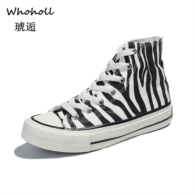 b678bdd06ac7 Whoholl Brand 2019 Spring Winter Plus Size 35-40 Zebra Striped Canvas  Vulcanized Shoes High Top Woman Chunky Sneakers Zapatos