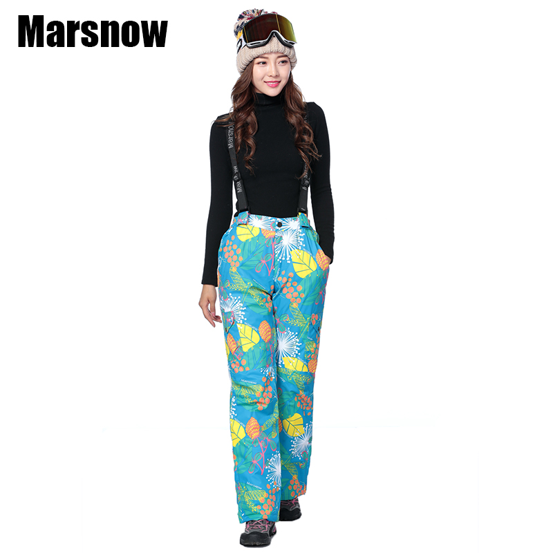 Marsnow Ski Trousers Female Outdoor Sport Waterproof Windproof Warm Thicken camouflage Winter Hiking Snowboard Snow pants women marsnow brand outdoor sport warm breathable waterproof ski pants men high quality snowboard winter hiking snow trousers for men