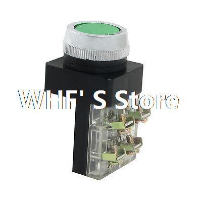 AC 600V 6A Green Sign Momentary Push Button Pushbutton Switch 1 NO N/O 1 NC N/C