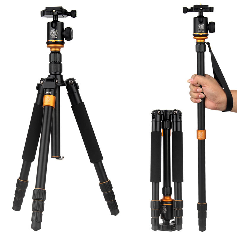 New QZSD Q666 Professional Aluminium Tripod Monopod & Ball Head For DSLR Camera / Portable Travel Tripod Camera Stand Up to 17lb new qzsd q888 professional aluminum tripod monopod with ball head for dslr camera to camera camera stand better than q666