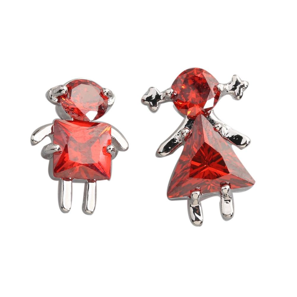 Honey Red Garnet 5 5mm Semi Precious Silver Cool For Womens Stud Earrings ED0091