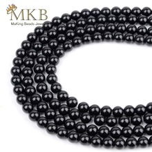 Natural Stone Smooth Black Agates Onys Round Beads For Jewelry Making 4 6 8 10 12mm Gem Spacer Diy Bracelet Wholesale