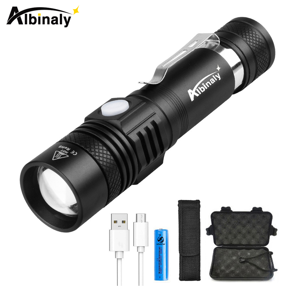 Super bright Rechargeable LED flashlight T6 L2 8000 Lumens torch 5 lighting modes zoomable flashlight +18650 battery цена