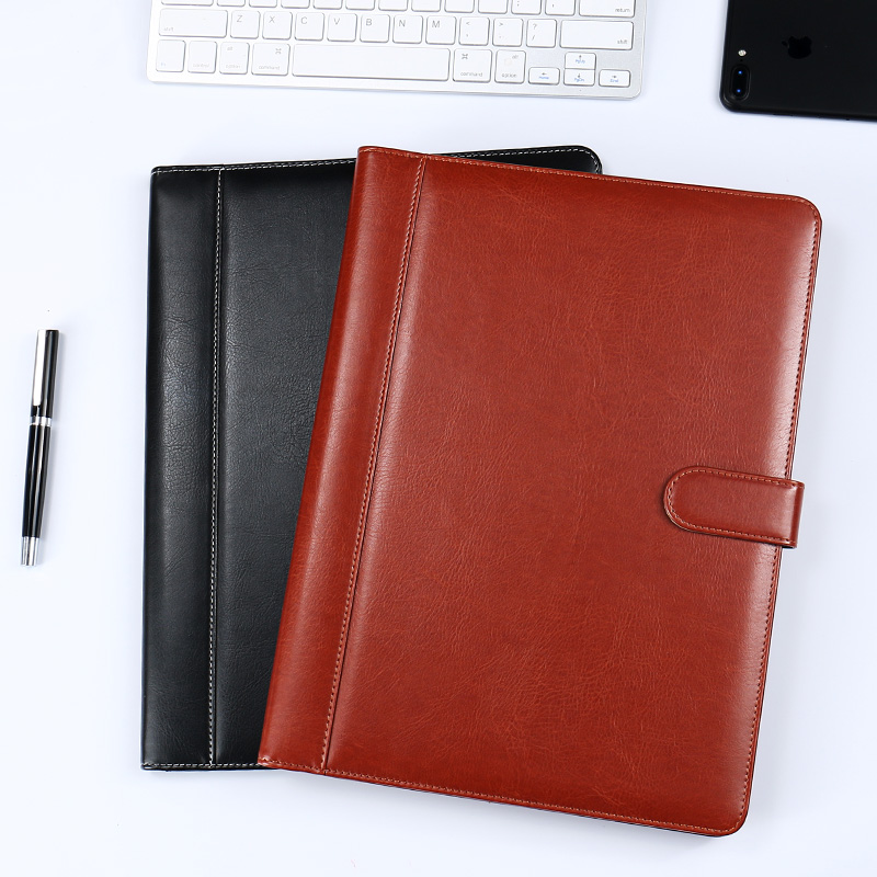 Fashion A4 PU Leather Office Padfolio MultiFunction Notepad File Folder With Calculator Clip Memo Pad Office Desk Accessory 1308