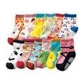 Calcetines de los niños en la primavera y el otoño de los niños de dibujos animados de algodón pegamento antideslizante bebé calcetines del bebé un montón de diseño 12 par/lote