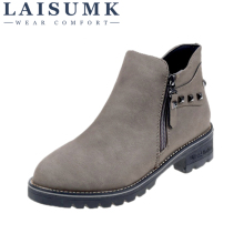 LAISUMK Size 35-40 2019 New Fashion Women Boots Autumn Winter Classic Zip Rivets Ankle Warm Plush Shoes