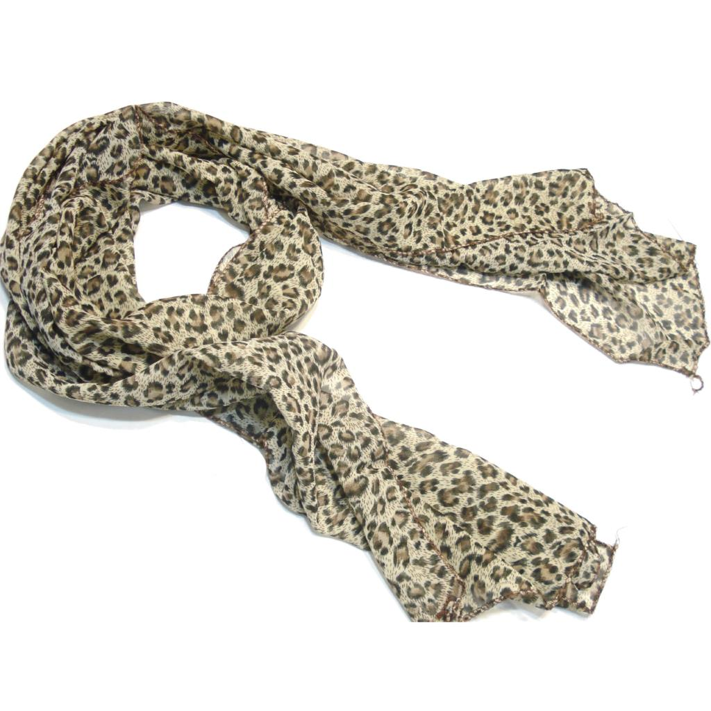 MYTL Mother's Day Gift Scarf Jewelry Silky Leopard Print Chiffon Women Long Scarf Sold Per Piece