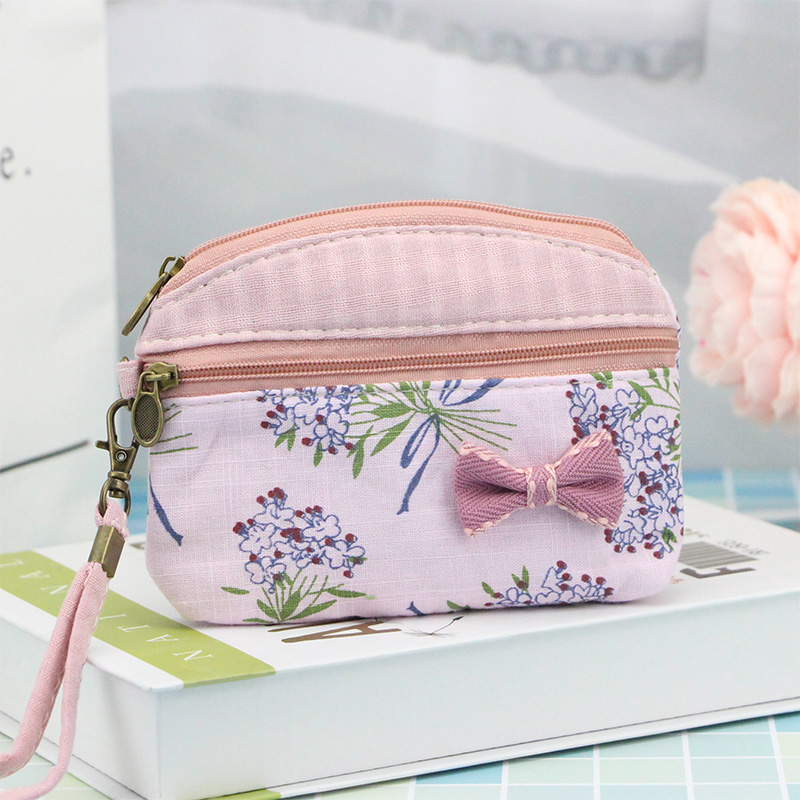 цена на Katuner New Fresh Floral Children Kids Bag Girls Wallet Canvas Bow Women Mini Coin Purse For Key Card Clutch Coin Pouch K09