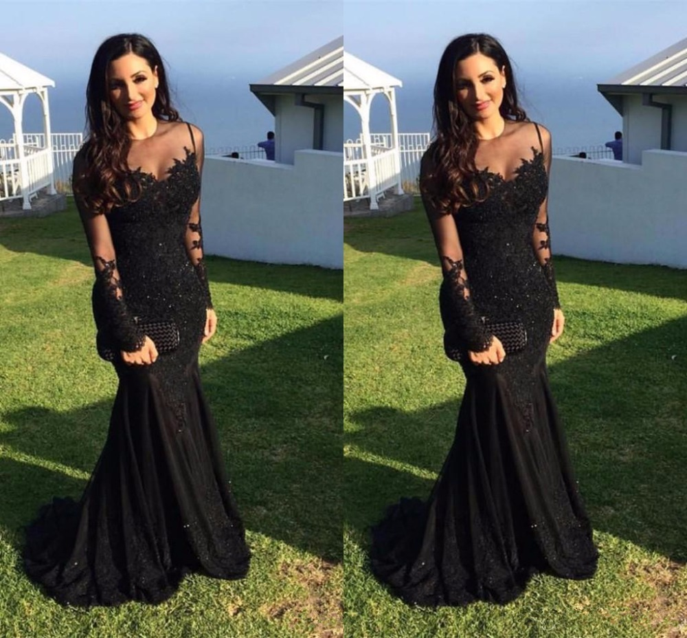 New Black Evening Dress 2020 Spring O-Neck Long Sleeves Floor Length Lace Tulle Mermaid Prom Dresses Vestido De Festa