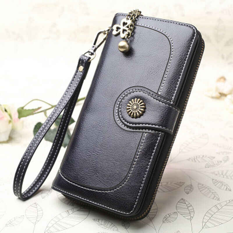 Fashion Women Lady Clutch Leather Wallet Long Card Holder Phone Bag Case Purse Black Blue Brown Orange Yellow Wine Red