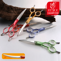 Fenice Professional Pets Grooming Scissors 6.0 inch Aluminum Handle Dog/Cat Hair Cutting Curved Shear