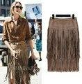 Nuevo otoño invierno de color caqui midi faldas las mujeres de Cintura Alta Recta Falda De Cuero de Gamuza Con Flecos Borla lápiz Saias falda de calidad superior