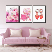 Fashion Paris Perfume Flower High Heels Nordic Posters and Prints Wall Art Canvas Painting Wall Pictures For Living Room Decor fashion paris perfume red lips flower wall art canvas painting nordic posters and prints wall pictures for living room decor