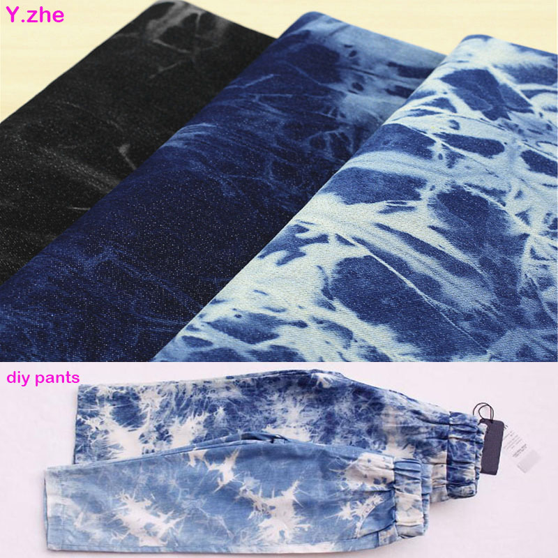 Wide 130cm Tie-Dyed Washed Denim Fabric Bomuld / Spandex Stretch Denim Fabric Quliting Patchwork Søm Materiale Diy Clothing
