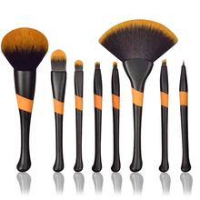 Orange bristles Large Fashion Fan Brush 8pcs Makeup Brushes Set Eyeshadow Foundation Eyelashes Mineral Make Up Tool