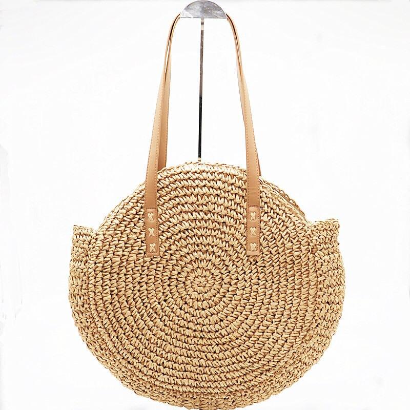 Nouveau Naturel Dames Fourre-Tout grand sac à main à la main-tissé grand sac de paille ronde popularité de paille Femmes Épaule Sac de plage de vacances sac