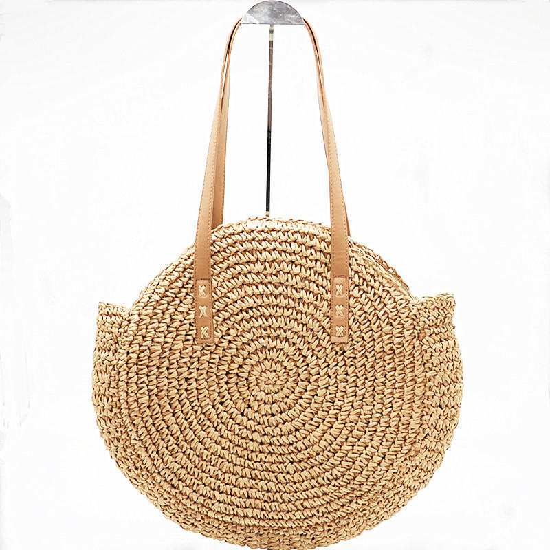 Nueva Natural señoras Tote Bolso grande tejido a mano grande de paja redondo popularidad paja bolso de hombro playa bolsa