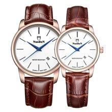 Chicos Relojes Nuodun Nato Correa de Cuero Reloj de Cuarzo Resistente A los Golpes A Prueba de agua 20mm Vestido Reloj Orologio Donna
