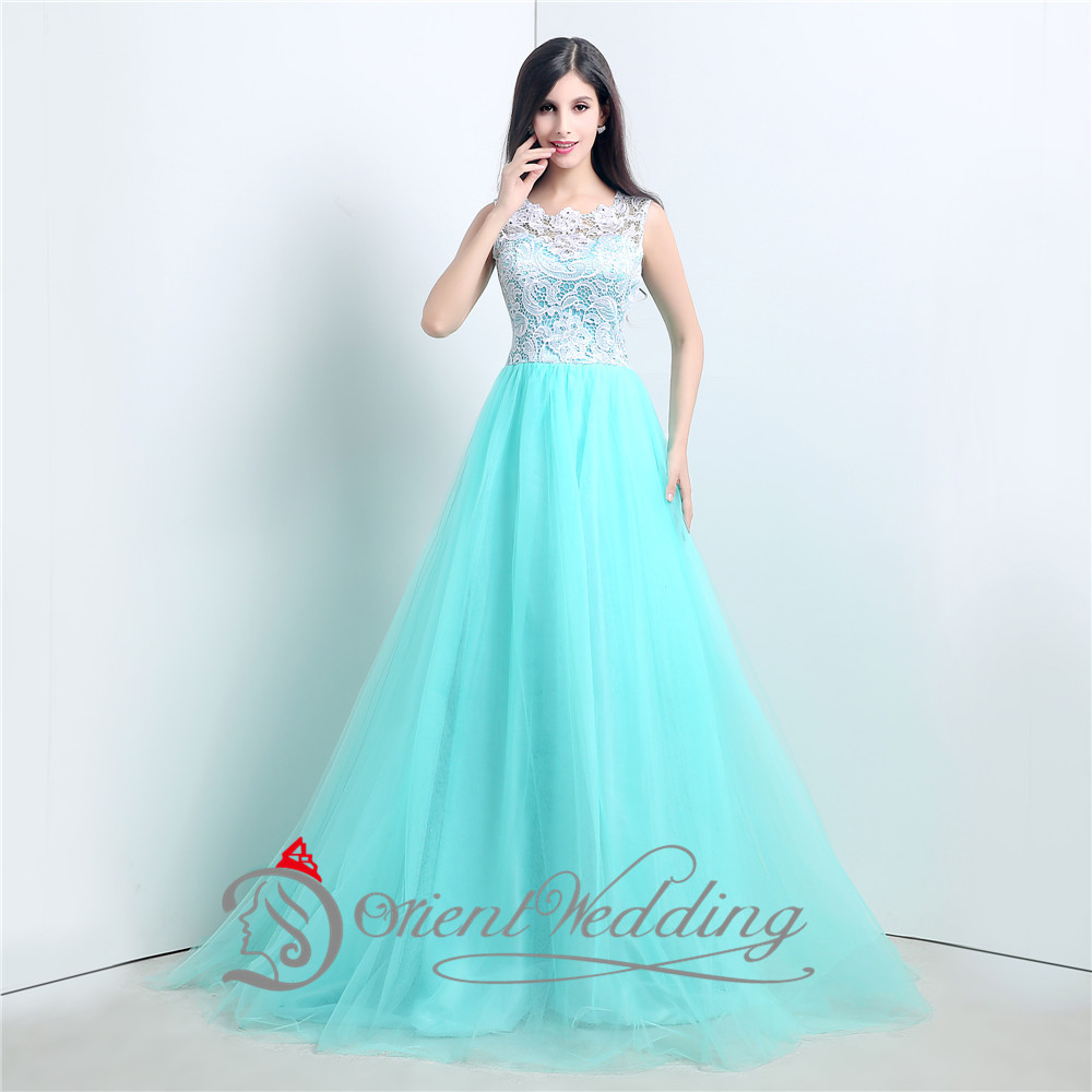 Sexy See Through Tulle Lace Long Elegant Puffy Formal Prom Dresses ...