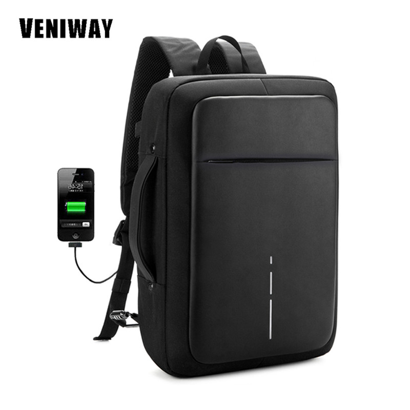 VENIWAY Anti theft XD City Design Backpacks Men's Backpack USB Charge Waterproof Travel bagpack for 15.6 notebook Laptop bag veniway xd anti theft backpack women men backpacks usb charge laptop design male travel backpack for girls school bag boys