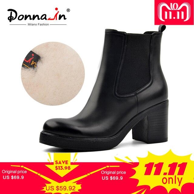 Donna-в натуральная кожа зимние сапоги натуральная шерсть меховой стелькой зимние ботинки обувь на платформе Обувь на высоком каблуке Челси ботильоны