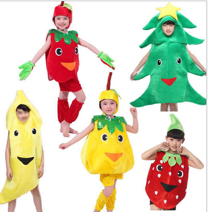 children halloween party fruit vegetable banana carrot chilli pear watermelon tree strawberry cabbage apple costume hat - Banana Costume Halloween