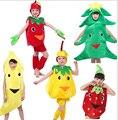 Crianças festa de halloween de frutas legumes cenoura pimenta de banana melancia morango repolho o traje de roupas