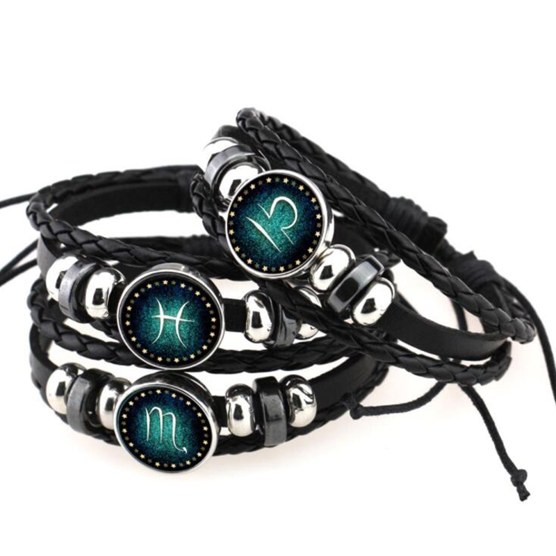 2018 New Aries Taurus Gemini Cancer Virgo 12 Zodiac Sign Bracelet Women Men Black Genuine Braided Leather Bracelets XY17015