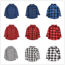 Fashion Baby Boys Shirts Cotton Children Plaid Tee Shirt Checked Blouse Kid Blouses Overshirt Girls Clothes Tops 2-9 Years