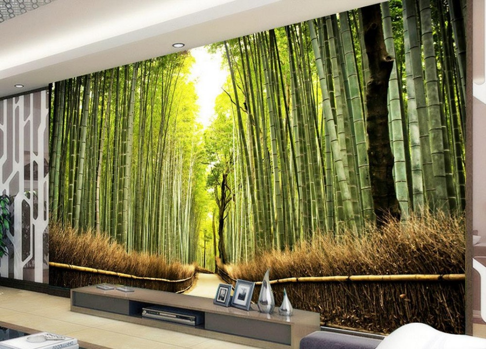 Customized Wallpaper Bathroom Bamboo Forest Scenery Living Room Photo In Wallpapers From Home Improvement On Aliexpress