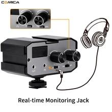 Comica CVM AX1 모노 스테레오 오디오 믹서 어댑터 DSLR 용 마이크 Canon EOS T6 Nikon D3300 ual 채널 증폭기 3.5MM 잭