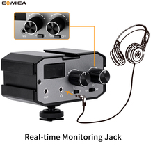 Comica CVM AX1 Mono Stereo mikser Audio Adapter mikrofon do DSLR Canon EOS T6 Nikon D3300 ual kanały wzmacniacz 3.5MM Jack
