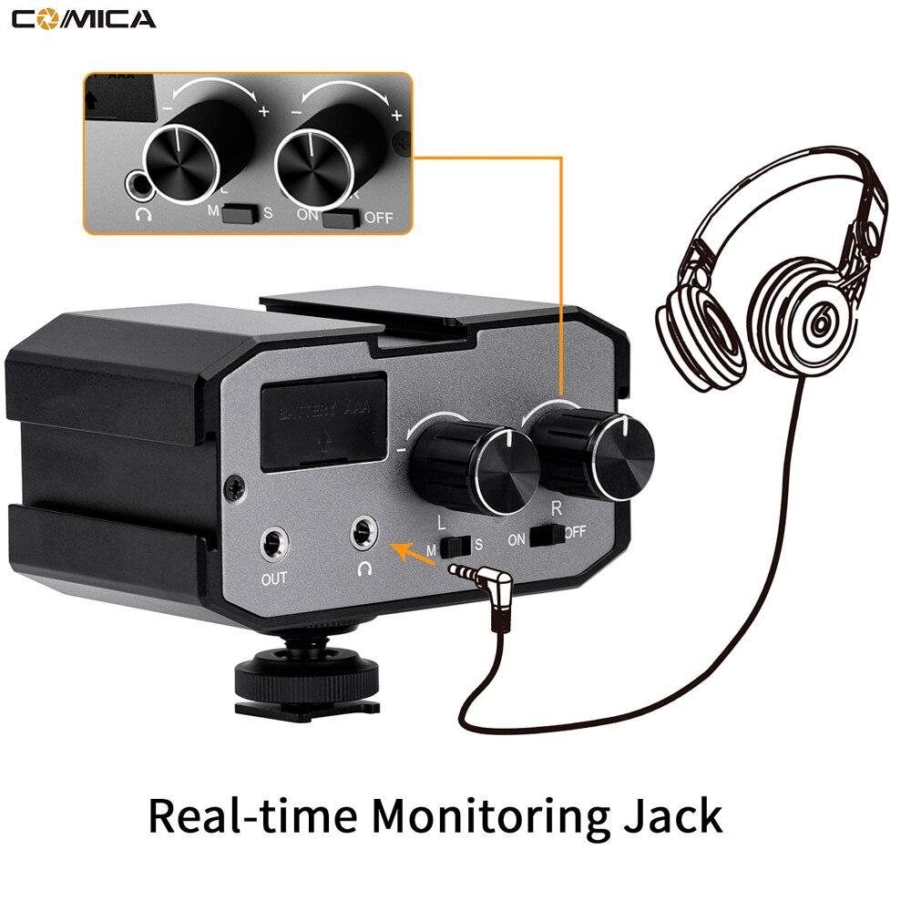 Comica CVM-AX1 Mono stéréo mélangeur Audio adaptateur Microphone pour DSLR Canon EOS T6 Nikon D3300 ual canaux amplificateur 3.5 MM Jack