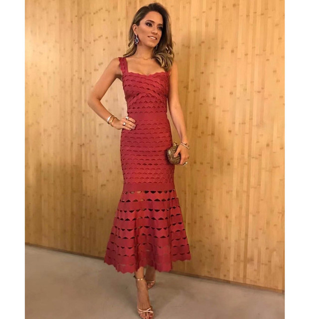 Leger Babe HL 2018 Fashion Strapy Women Going Out Celebrity Style  Sleeveless Wine Party Sexy Bodycon Lady Long Dress Vestidos 8ed3ca41ae3f