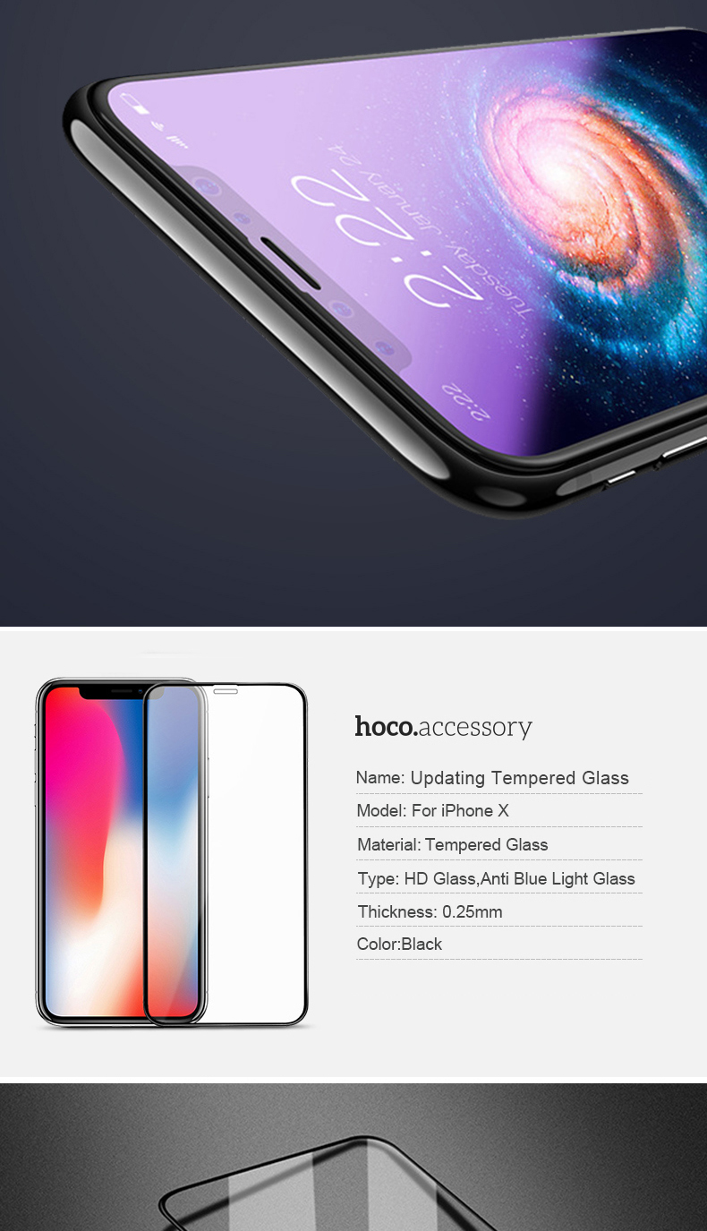 Hoco 3d Tempered Glass Screen Protector For Iphone X Xs Xr Xsmax Glastr Slim Hd Original Elastic Frame Is Same Color As Phone Ultra Thin Without White Or Broken Edges And Covers The Whole