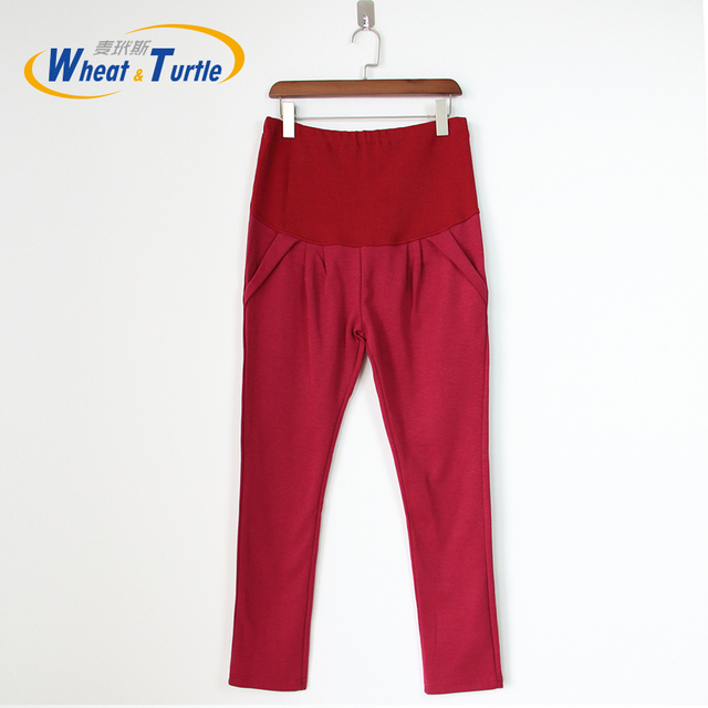 2016 Hot Sale New Design Good Quality Wine Cotton Maternity Pants All Match All Season Comfortable Maternity Casual Harlan Pants