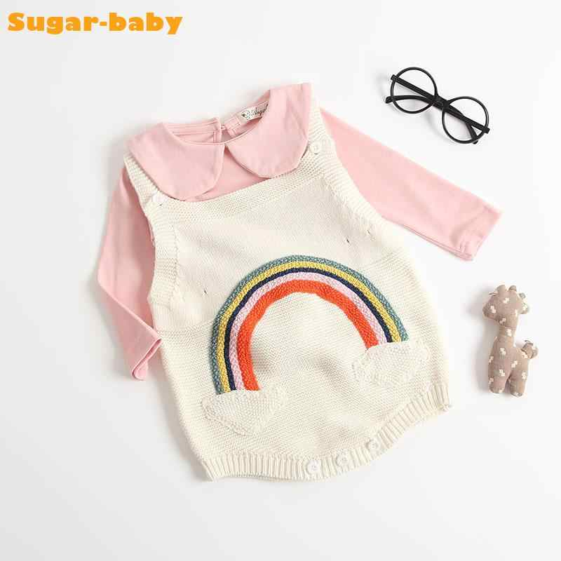 7946f1e00 Baby Romper Autumn 2018 Korea Style O-neck Sleeveless Rainbow Straps Vest Knitted  Climbing Clothes