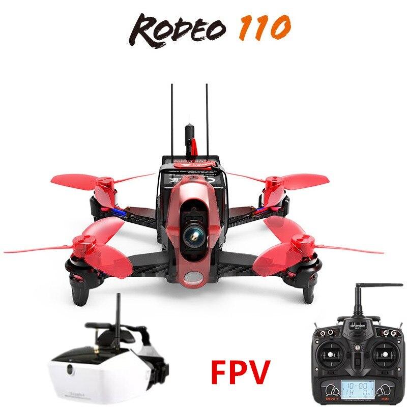 Walkera Родео 110 + DEVO 7 Дистанционное управление +, 4 FPV-системы Очки RC гоночный Drone FPV-системы Quadcopter RTF (600TVL камера в комплекте)