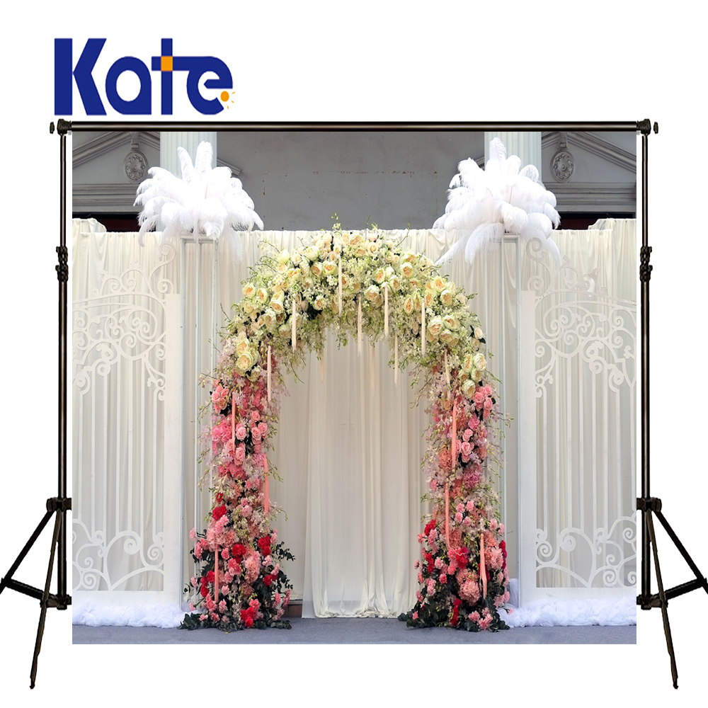 KATE Photo Background Wedding Backdrops Wedding Garden Arch White Curtain Background Photography Backgrounds For Photo Studio wedding photo backdrops white flowers hanging lights computer printing background gray wall murals backgrounds for photo studio