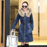 Winter Women Fur Denim Jacket Long Sleeve Washed Blue Jeans Jacket Warm Button Fur Collar Bomber Jacket