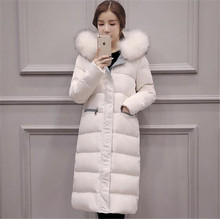 2016 Winter Fashion Fur Collar Hooded Thicken Coat Loose Plus Size Parka Women Long Jacket For Women Down Jackets Coat G1789