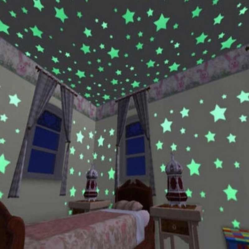 50 sztuk 3D gwiazdy świecą w ciemności naklejki ścienne Luminous fluorescencyjne naklejki ścienne dla dzieci pokój dla dzieci sypialnia sufit Home Decor