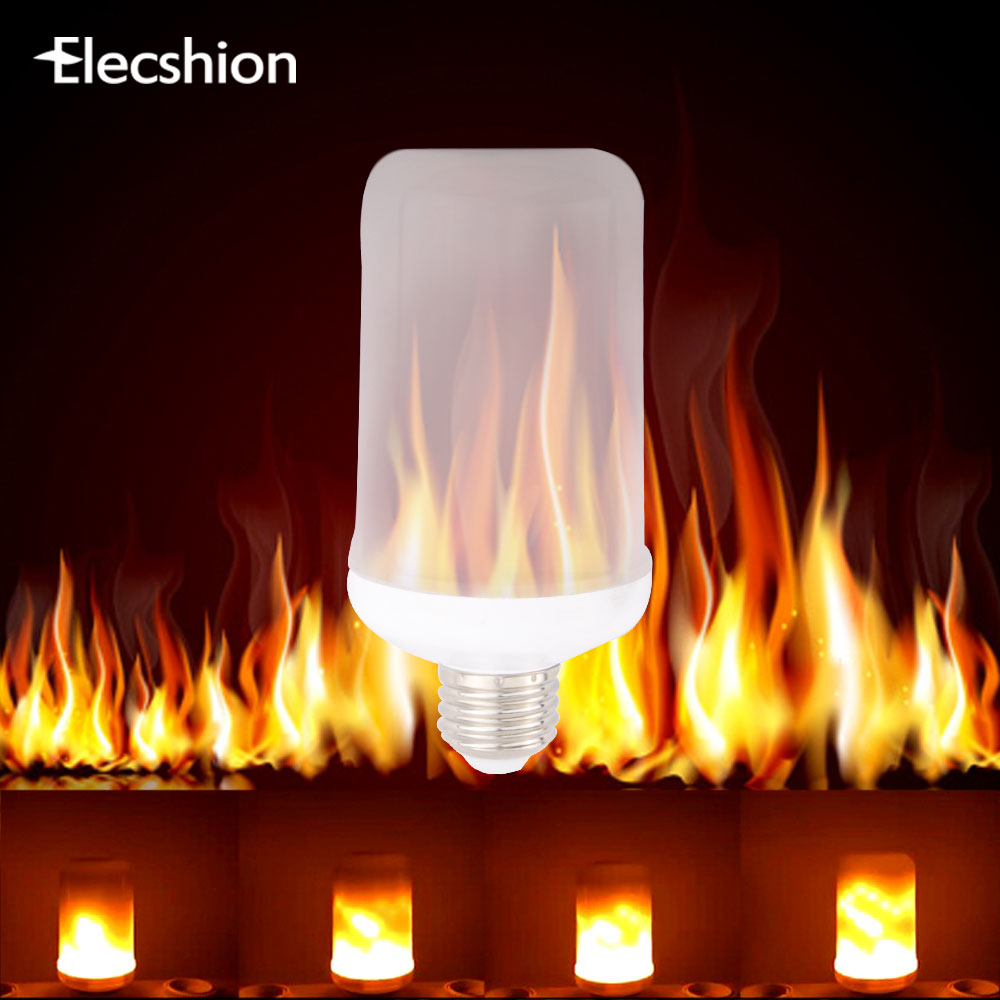 Elecshion Led Fireworks Flame Fire E27 E14 Bulb Tube Flame Effect Night Light Spotlight Hue Projector 110 220v For Home Chip free shipping stage led fire light flame projector 54x 10mm led silk fire flame light machine